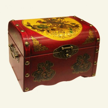 Two Phoenixes Chinese Wood Jewelry Box