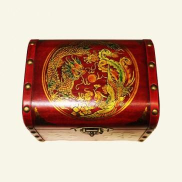 Dragon & Phoenix Oriental Wood Jewelry Box