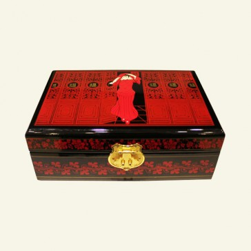Chinese Girl Red & Black Wooden Jewelry Box