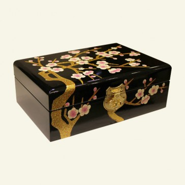 Black Cherry Blossom Wood Jewelry Box