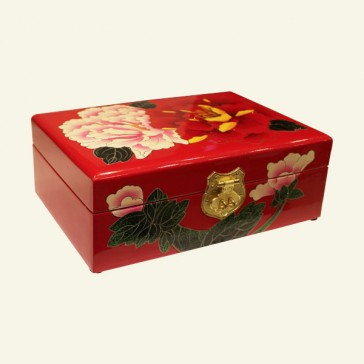 Chinese Floral Design Wood Jewelry Box