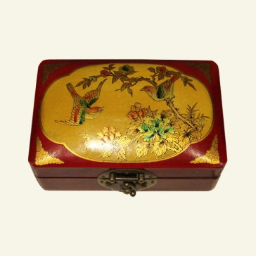 Bird and Blossom Chinese Wood Jewelry Box