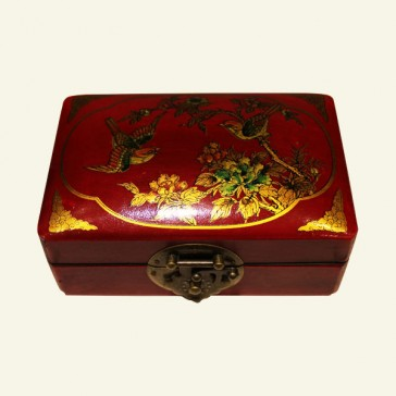 Lined Chinese Wood Jewelry Box - Florals & Birds