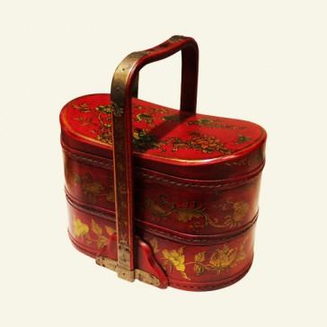 Chinese Wood Jewelry Tiered Basket Box