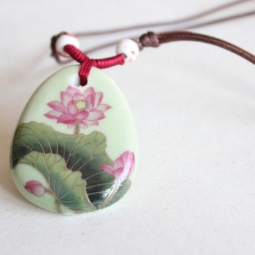 Lotus Blossom Porcelain Necklace