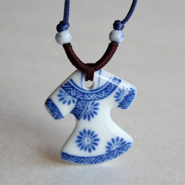 Traditional Chinese Dress Porcelain Pendant Necklace