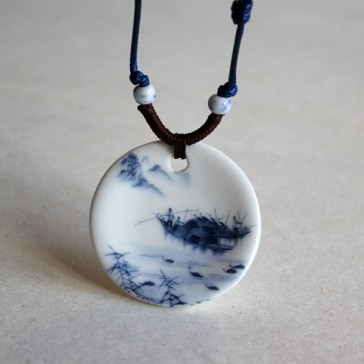 Landscape Porcelain Pendant Necklace