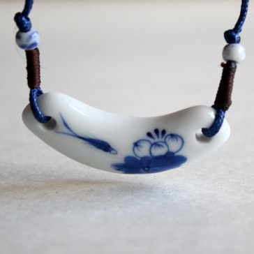 White and Blue Water Pattern Necklace