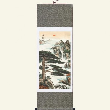 Silk Wall Scroll - Greeting Guest Pine