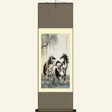 Silk Wall Scroll - Chinese Horse Painting