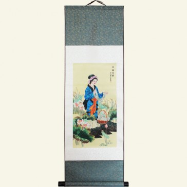 Silk Wall Scroll - Beautiful Woman Chinese Painting