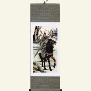 Chinese Warrior Silk Wall Scroll