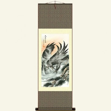 Chinese Silk Wall Scroll - Eagle Painting