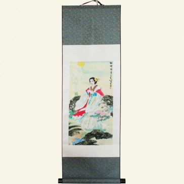 Pretty Lady Chinese Painting Silk Scroll