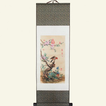 Flower & Bird Chinese Painting Silk Scroll
