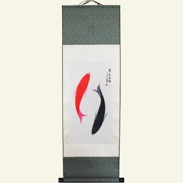 Chinese Silk Wall Scroll - Yin and Yang Fish