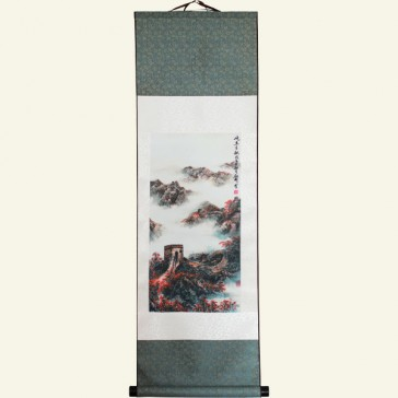 Silk Wall Scroll - Great Wall of China in Morning Mist