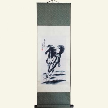 Silk Wall Scroll - Auspicious Horse of Swift Success