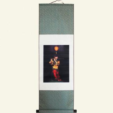 Silk Wall Scroll - Girl Playing Dizi Chinese Painting