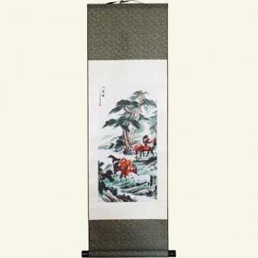 Silk Wall Scroll - Feng Shui Horses at River's Edge