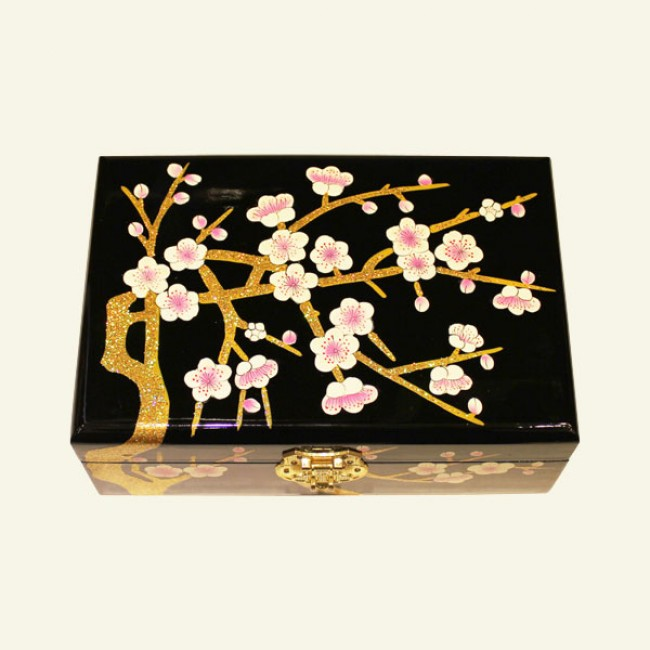 Black Cherry Blossom Wood Jewelry Box