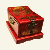 Red Lacquered Wood Jewelry Box Multi Compartment
