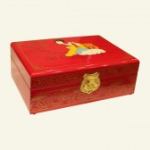 Elegant Woman Playing Flute Wooden Jewelry Box
