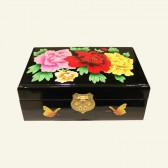 Chinese Black Wood with Gilt Flowers Jewelry Box