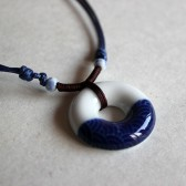 Dark Blue and White Circular Necklace