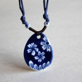 Blue and White Oval Floral Necklace