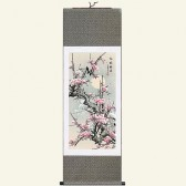 Silk Wall Scroll with Plum Blossoms for Good News