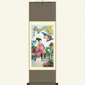 Silk Wall Scroll - Girl and Phoenix #1