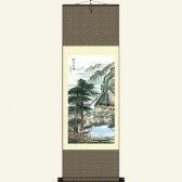 Chinese Silk Wall Scroll - Landscape Painting