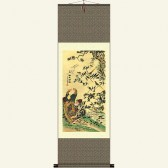 Silk Wall Scroll - 100 Birds Paying Homage To The Phoenix