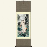 Chinese Silk Wall Scroll - Woman Bathing