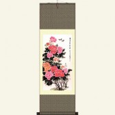 Chinese Painting Silk Scroll - Peony in Full Bloom