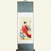 Silk Wall Scroll - Oriental Lady Chinese Painting