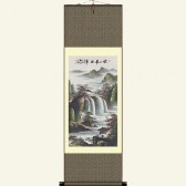Landscape Painting Silk Wall Scroll - Waterfall