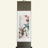 Silk Wall Scroll with Two Bluebirds for Fortune and Love