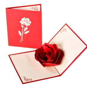 Handmade 3D Pop up Rose Flower Greeting Cards