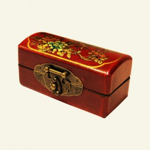 Chinese Wood Jewelry Box with Paired Birds & Blossoms
