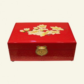 Cream & Yellow Flower Wood Jewelry Box
