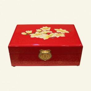 Cream & Yellow Flower Wood Jewelry Box