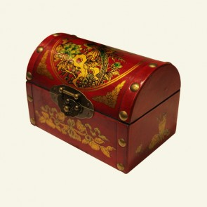 Lacquered Dome Top Chinese Wood Jewelry Box