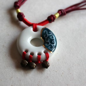 White and Blue Circular Necklace