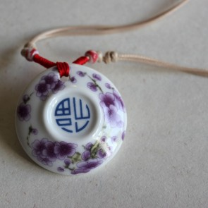 Chinese Symbol for Good Luck Porcelain Pendant Necklace