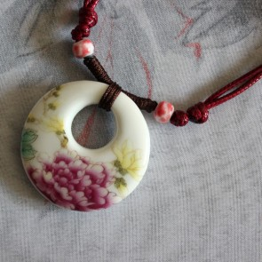 Floral Porcelain Necklace with Open Center