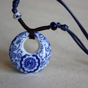 Blue Floral Porcelain Necklace