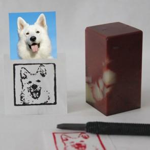 Custom Pet Portrait Chop - Natural Stone - Hand-carved