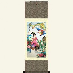 Silk Wall Scroll - Girl and Phoenix #1